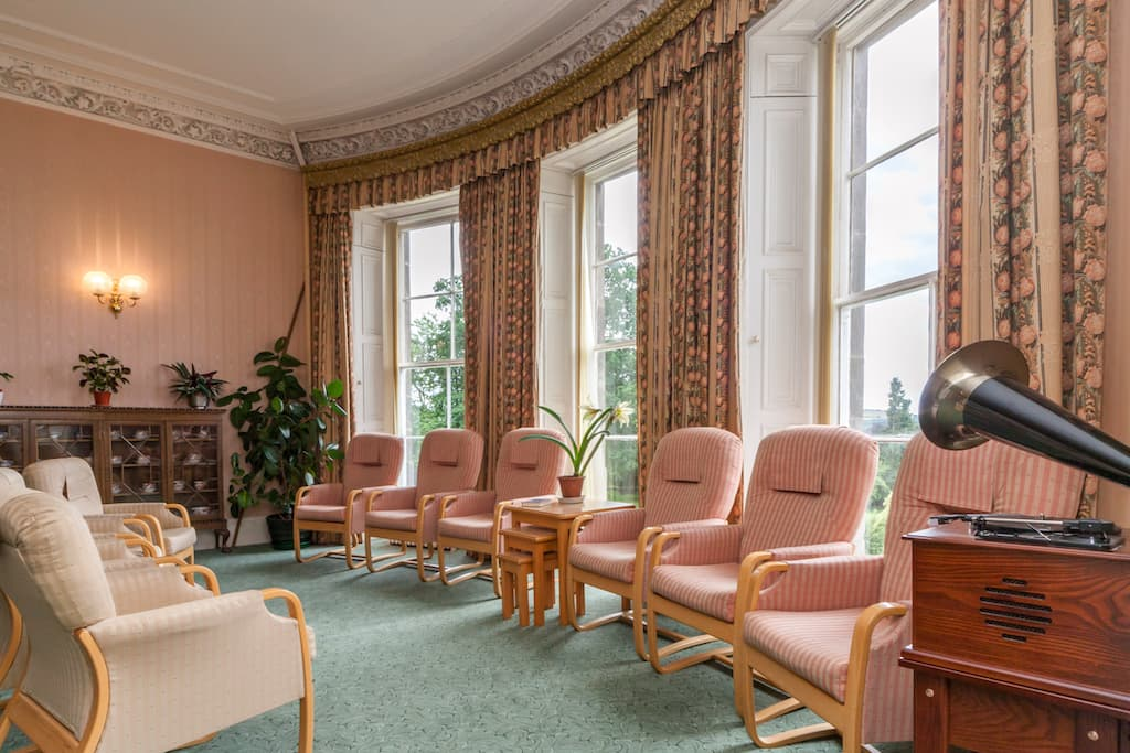 Lounge at Kincarrathie Residential Care Home, Perth, Scotland