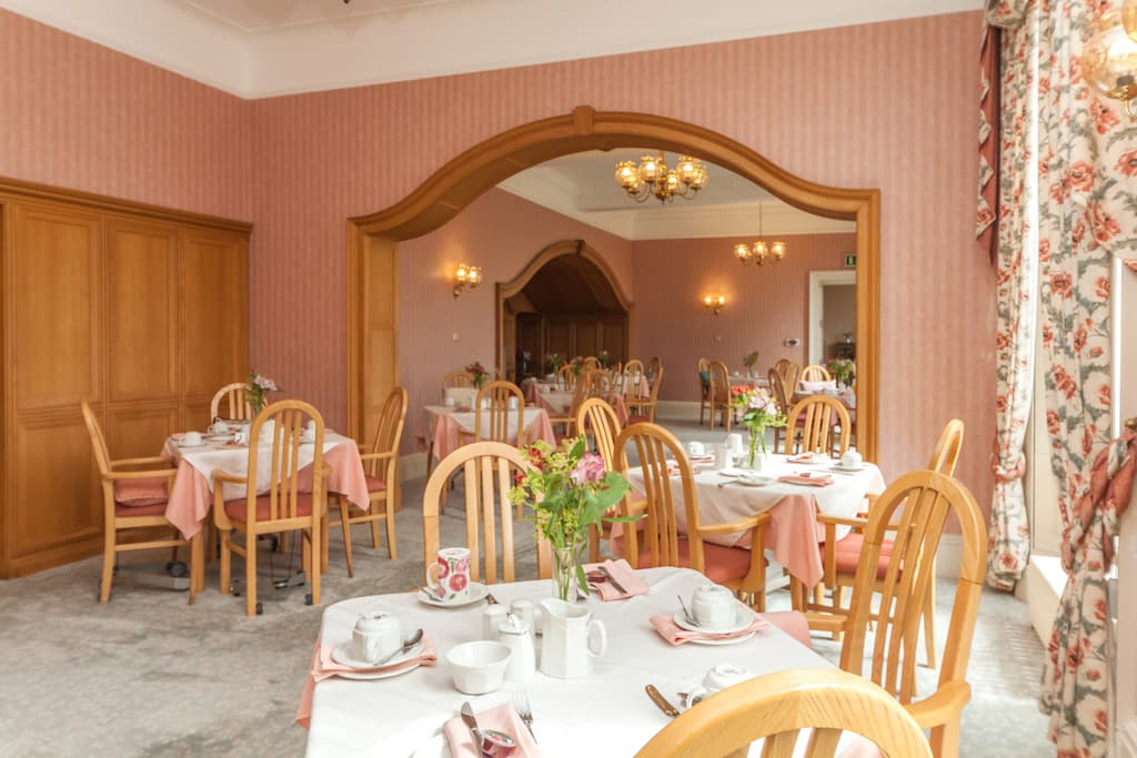 Dining room in Kincarrathie Residential Care Home, Perth, Scotland